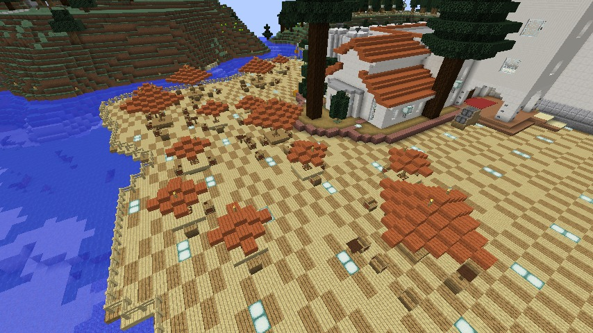 Minecrafterししゃもがマインクラフトでぷっこ村にある金曜日のオレ工場の敷地を彩る3