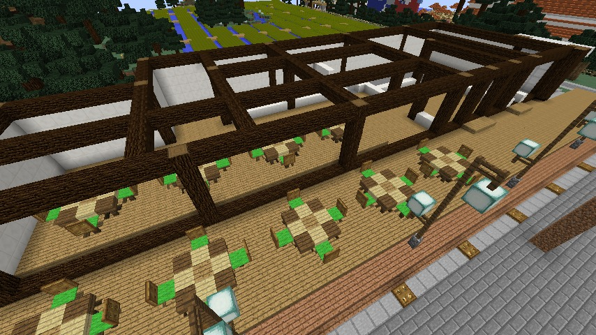 Minecrafterししゃもがマインクラフトで大通りに面した休憩施設を作っちゃう3