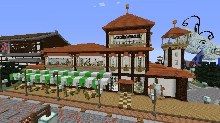 Minecrafterししゃもがマインクラフトで大通りに面した休憩施設を作っちゃう8