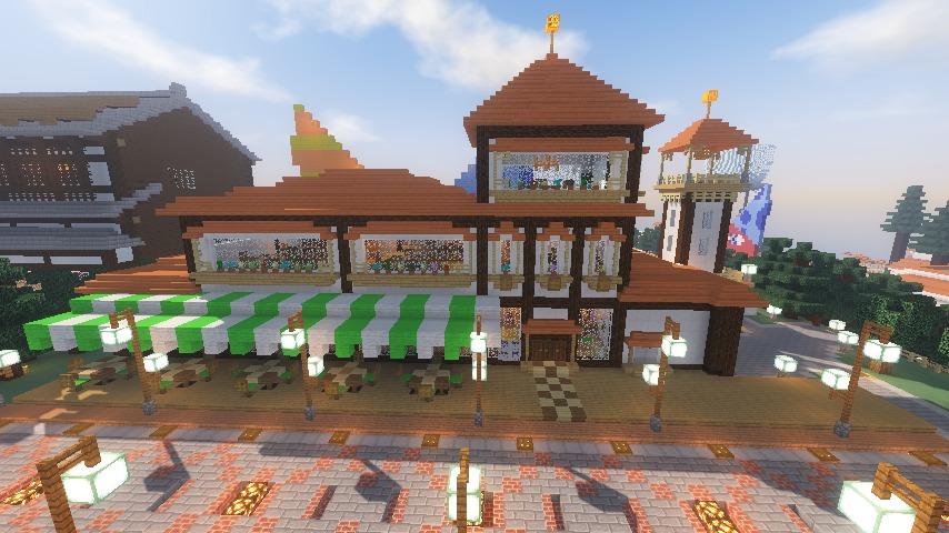 Minecrafterししゃもがマインクラフトで大通りに面した休憩施設を作っちゃう11