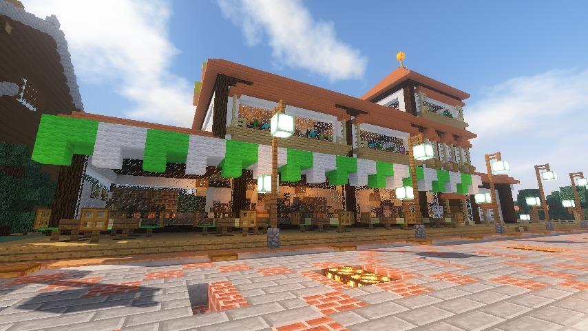 Minecrafterししゃもがマインクラフトで大通りに面した休憩施設を作っちゃう12