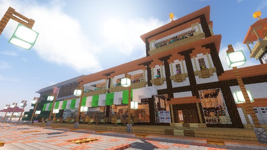 Minecrafterししゃもがマインクラフトで大通りに面した休憩施設を作っちゃう13