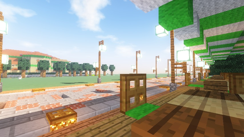 Minecrafterししゃもがマインクラフトで大通りに面した休憩施設を作っちゃう14