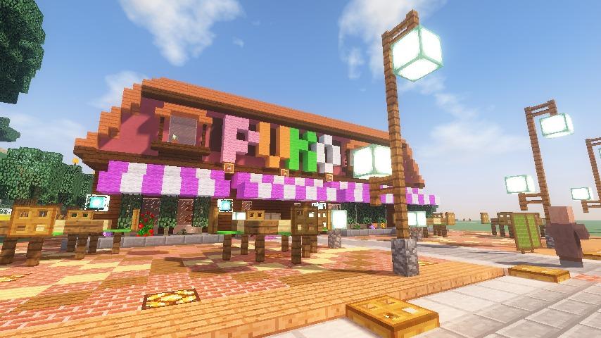 Minecrafterししゃもがマインクラフトでぷっこ村にシャトレーゼ丸パクリのお菓子屋プコレーゼを作る13