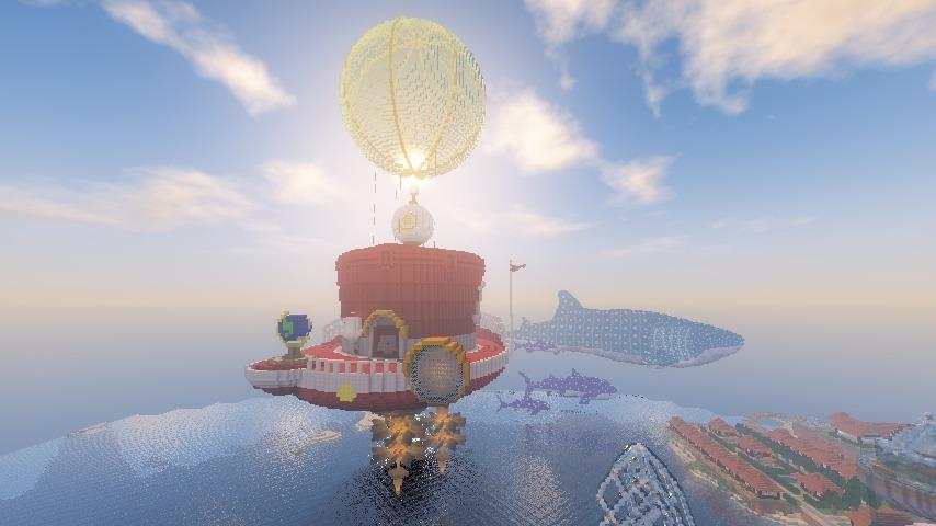 Minecrafterししゃもがマインクラフトでぷっこ村にスーパーマリオオデッセイのオデッセイ号を再現する6