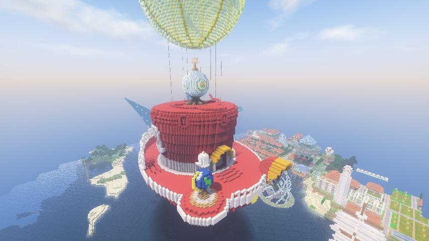 Minecrafterししゃもがマインクラフトでぷっこ村にスーパーマリオオデッセイのオデッセイ号を再現する2