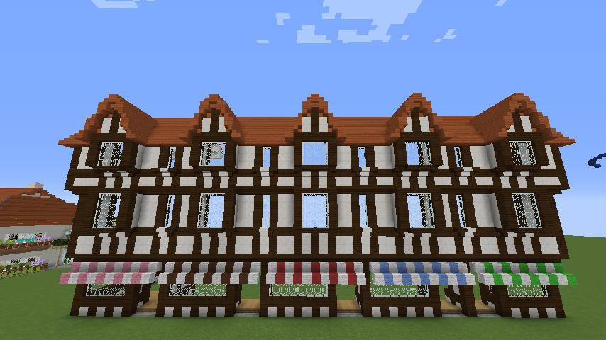 Minecrafterししゃもがマインクラフトでぷっこ村にチューダー様式の商店を建築する3