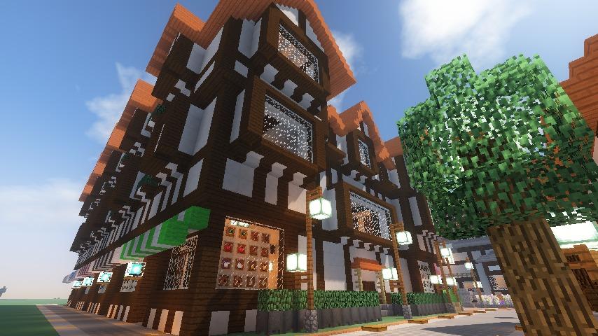 Minecrafterししゃもがマインクラフトでぷっこ村にチューダー様式の商店を建築する16