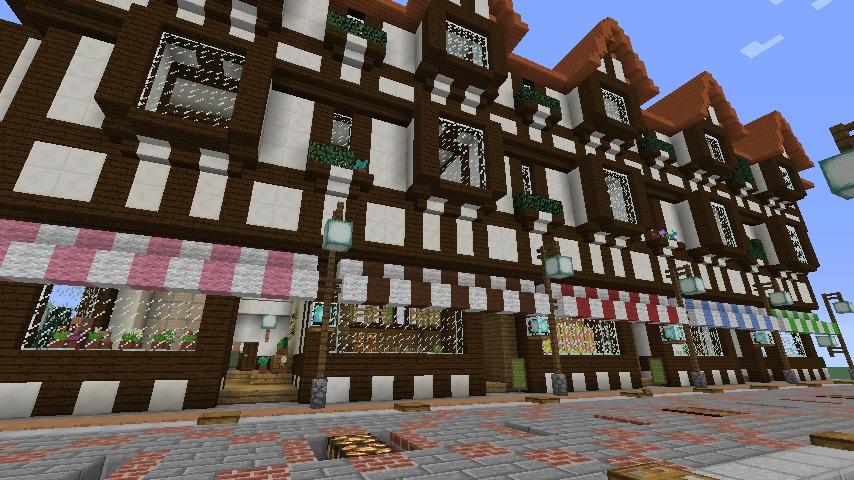 Minecrafterししゃもがマインクラフトでぷっこ村にチューダー様式の商店を建築する2
