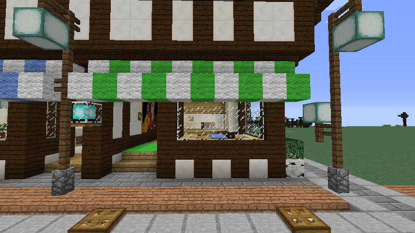 Minecrafterししゃもがマインクラフトでぷっこ村にチューダー様式の商店を建築する13