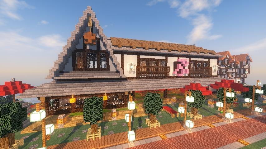 Minecrafterししゃもがマインクラフトでぷっこ村に和風建築でお土産屋を作る15
