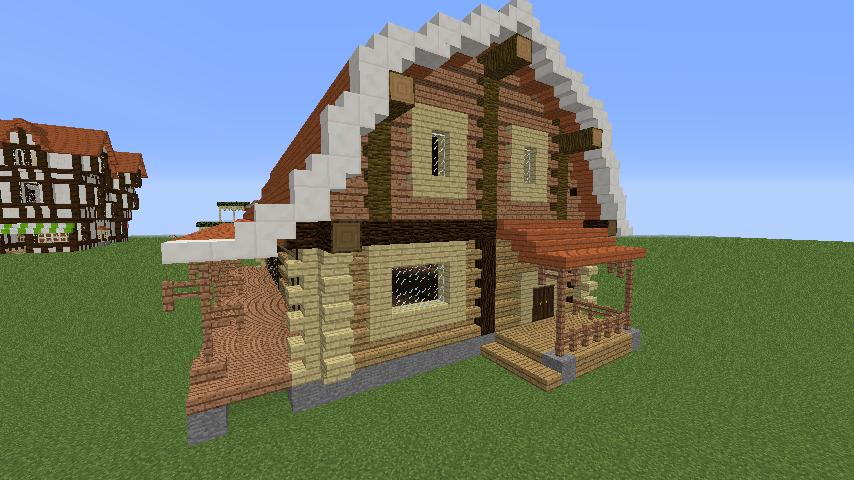 Minecrafterししゃもがマインクラフトでぷっこ村に移住者受け入れ用のログハウス7号を建築する4