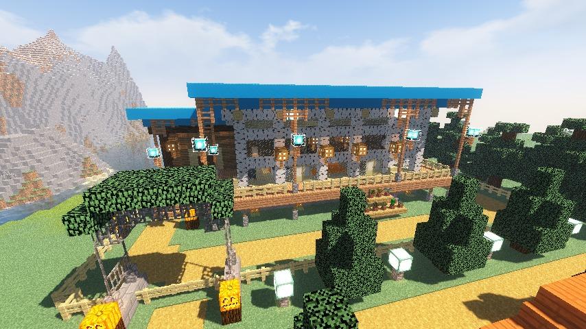 Minecrafterししゃもがマインクラフトでぷっこ村に移住者受け入れ用のログハウス8号を建てる14