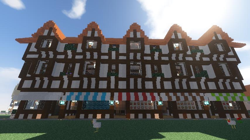 Minecrafterししゃもがマインクラフトでぷっこ村にチューダー様式の商店を建築する17