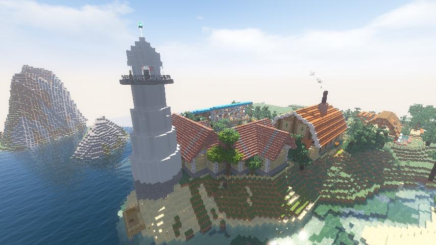 Minecrafterししゃもがマインクラフトでぷっこ村に灯台付きの移住者受け入れ用のログハウス9号を建築する11