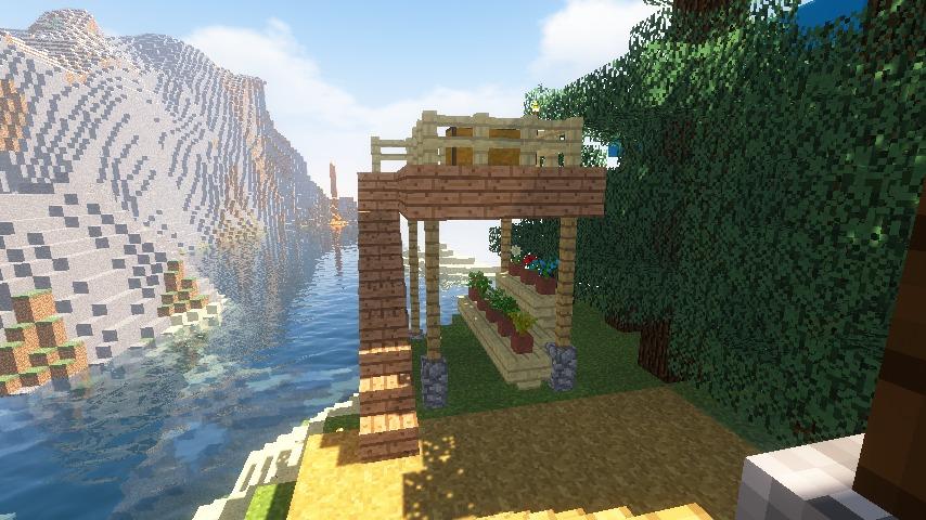Minecrafterししゃもがマインクラフトでぷっこ村に灯台付きの移住者受け入れ用のログハウス9号を建築する13