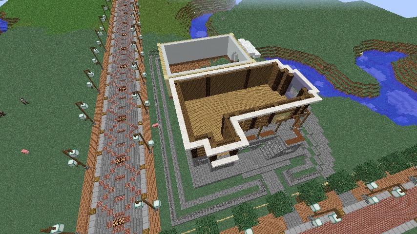 Minecrafterししゃもがマインクラフトでぷっこ村にプーニバル広場の管理小屋として旧日比谷公園事務所を再現する2