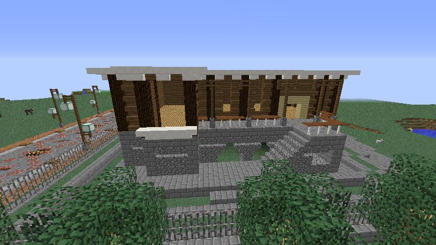 Minecrafterししゃもがマインクラフトでぷっこ村にプーニバル広場の管理小屋として旧日比谷公園事務所を再現する3
