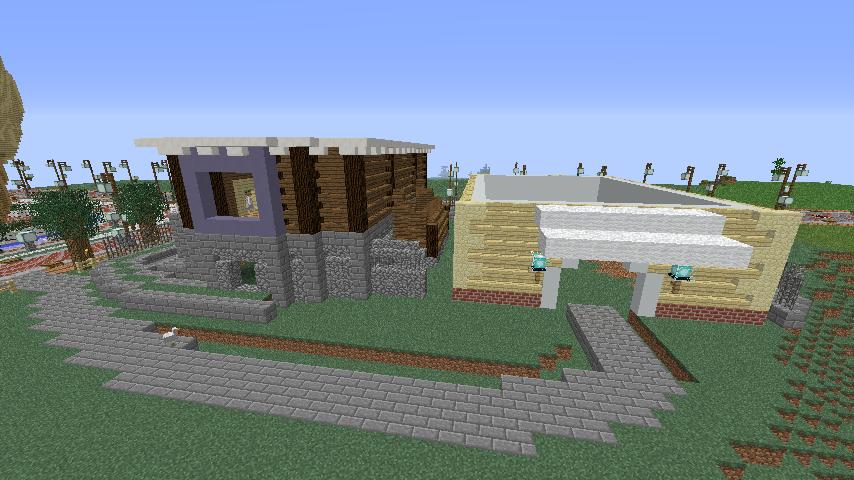 Minecrafterししゃもがマインクラフトでぷっこ村にプーニバル広場の管理小屋として旧日比谷公園事務所を再現する4