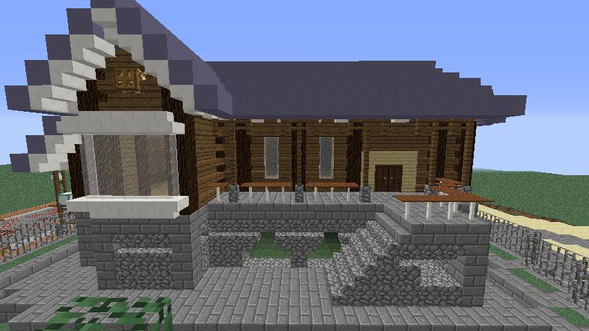 Minecrafterししゃもがマインクラフトでぷっこ村にプーニバル広場の管理小屋として旧日比谷公園事務所を再現する6