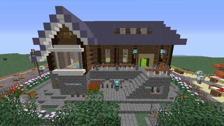 Minecrafterししゃもがマインクラフトでぷっこ村にプーニバル広場の管理小屋として旧日比谷公園事務所を再現する8
