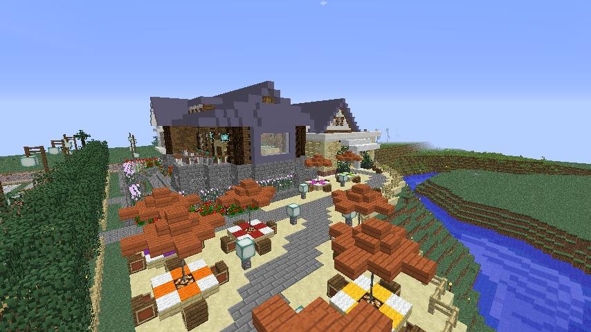 Minecrafterししゃもがマインクラフトでぷっこ村にプーニバル広場の管理小屋として旧日比谷公園事務所を再現する9