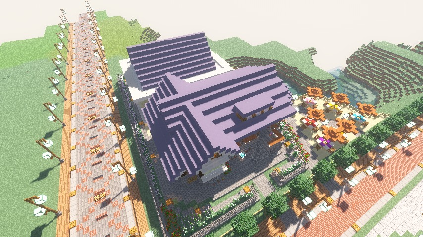 Minecrafterししゃもがマインクラフトでぷっこ村にプーニバル広場の管理小屋として旧日比谷公園事務所を再現する12