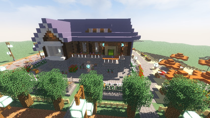 Minecrafterししゃもがマインクラフトでぷっこ村にプーニバル広場の管理小屋として旧日比谷公園事務所を再現する13