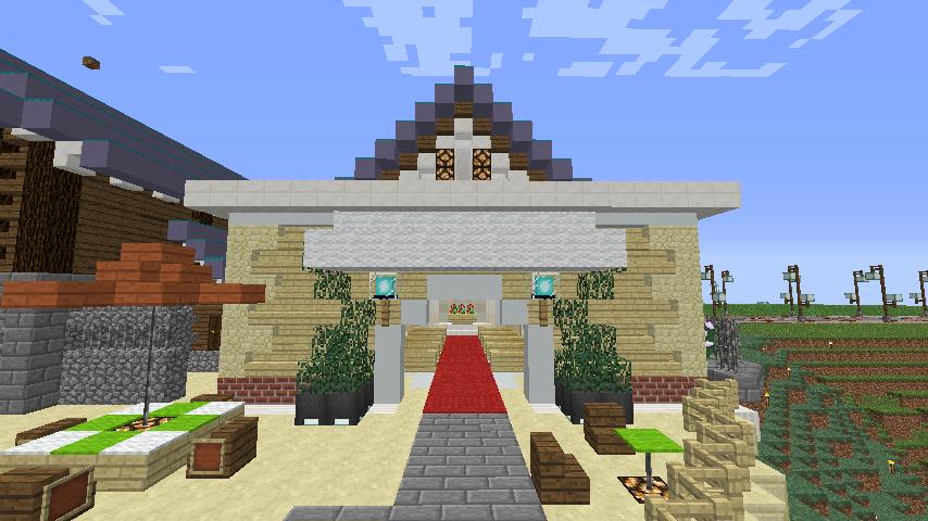 Minecrafterししゃもがマインクラフトでぷっこ村にプーニバル広場の管理小屋として旧日比谷公園事務所を再現する10