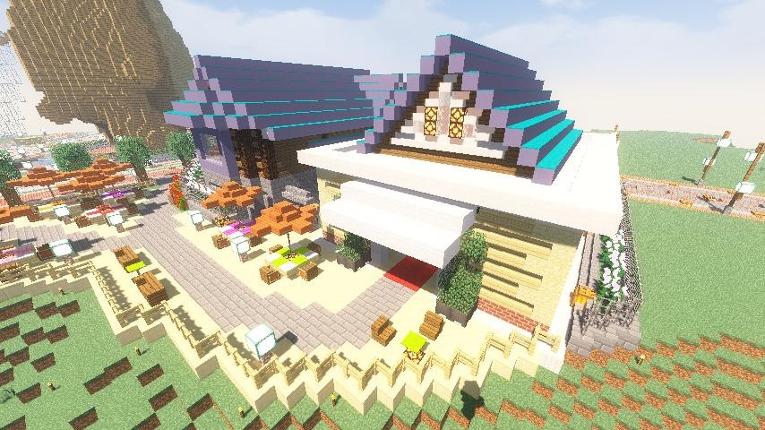 Minecrafterししゃもがマインクラフトでぷっこ村にプーニバル広場の管理小屋として旧日比谷公園事務所を再現する14