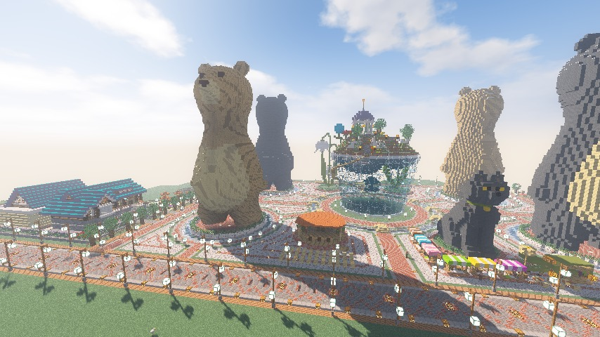 Minecrafterししゃもがマインクラフトでぷっこ村にプーニバル広場の管理小屋として旧日比谷公園事務所を再現する15
