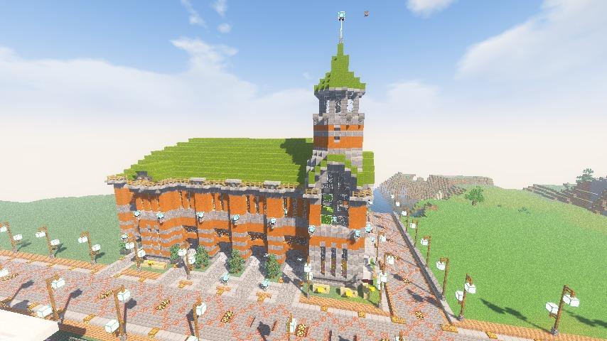 Minecrafterししゃもがマインクラフトでぷっこ村にハーバーエリア開拓の拠点として旧大阪商船を再現する13