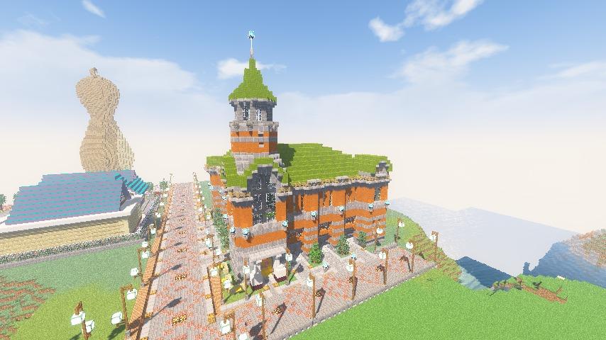 Minecrafterししゃもがマインクラフトでぷっこ村にハーバーエリア開拓の拠点として旧大阪商船を再現する14