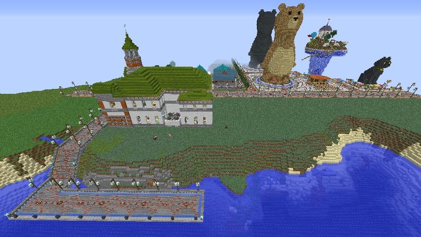 Minecrafterししゃもがマインクラフトでぷっこ村に船着き場を建設する3