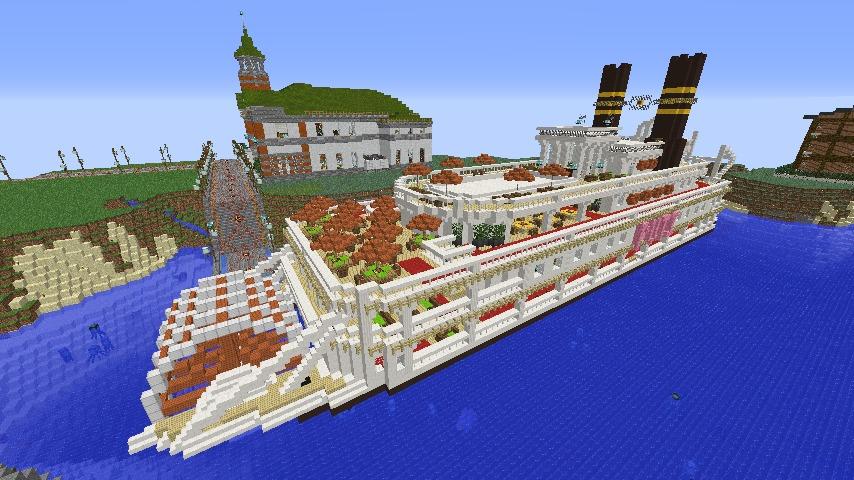Minecrafterししゃもがマインクラフトでぷっこ村に観光用大型フェリーを造船する8