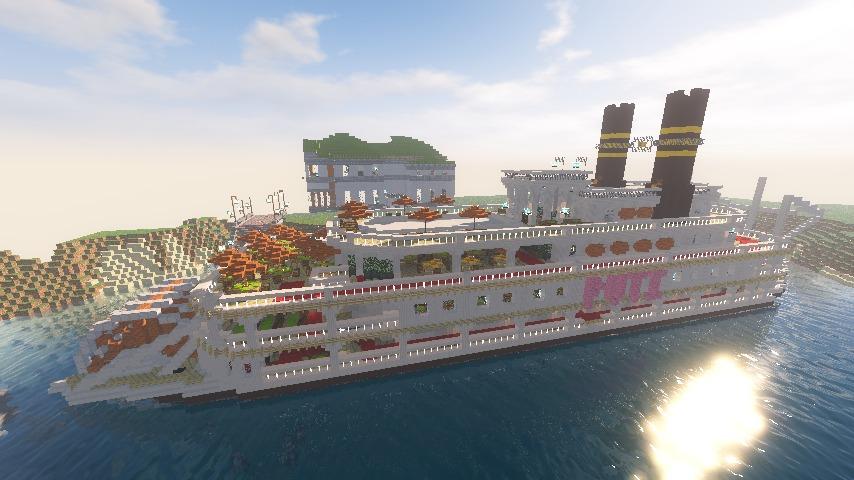 Minecrafterししゃもがマインクラフトでぷっこ村に観光用大型フェリーを造船する13