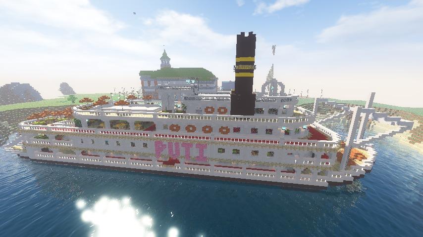 Minecrafterししゃもがマインクラフトでぷっこ村に観光用大型フェリーを造船する12