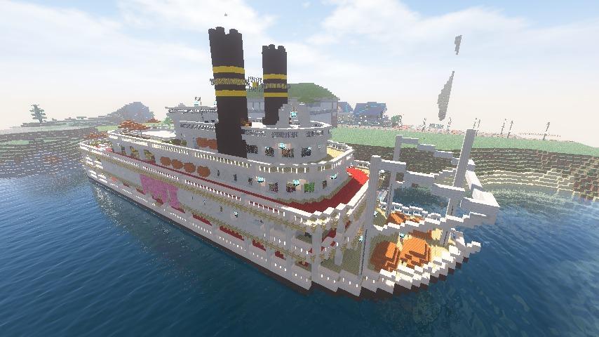 Minecrafterししゃもがマインクラフトでぷっこ村に観光用大型フェリーを造船する11