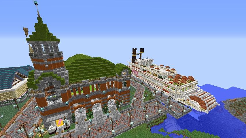 Minecrafterししゃもがマインクラフトでぷっこ村に観光用大型フェリーを造船する9