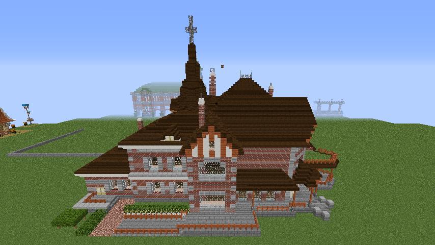 Minecrafterししゃもがマインクラフトでぷっこ村に国際友好記念図書館をモデルにした本屋を建築する2