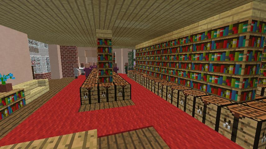 Minecrafterししゃもがマインクラフトでぷっこ村に国際友好記念図書館をモデルにした本屋を建築する11