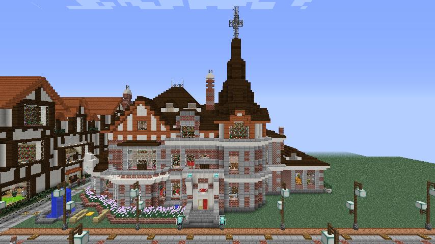Minecrafterししゃもがマインクラフトでぷっこ村に国際友好記念図書館をモデルにした本屋を建築する6