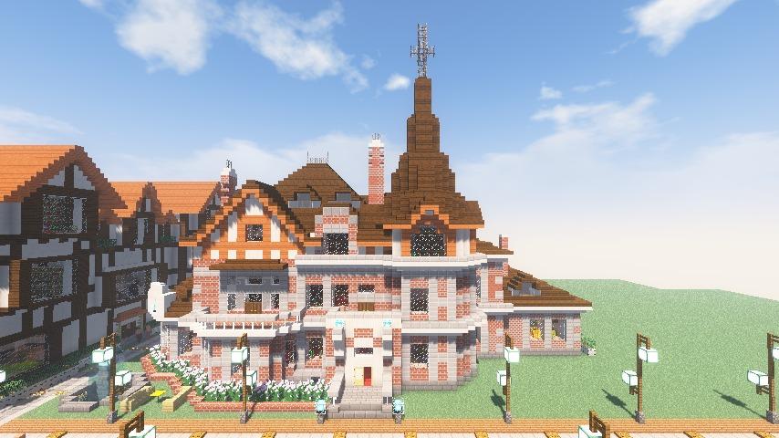 Minecrafterししゃもがマインクラフトでぷっこ村に国際友好記念図書館をモデルにした本屋を建築する12