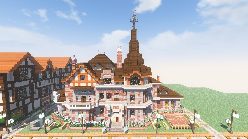 Minecrafterししゃもがマインクラフトでぷっこ村に国際友好記念図書館をモデルにした本屋を建築する7