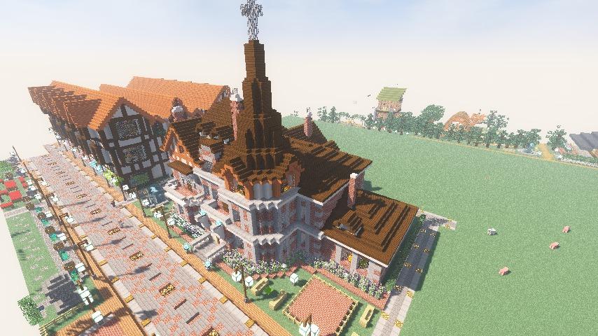 Minecrafterししゃもがマインクラフトでぷっこ村に国際友好記念図書館をモデルにした本屋を建築する13
