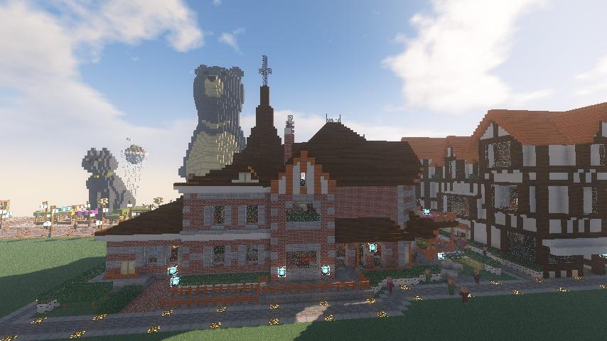 Minecrafterししゃもがマインクラフトでぷっこ村に国際友好記念図書館をモデルにした本屋を建築する14