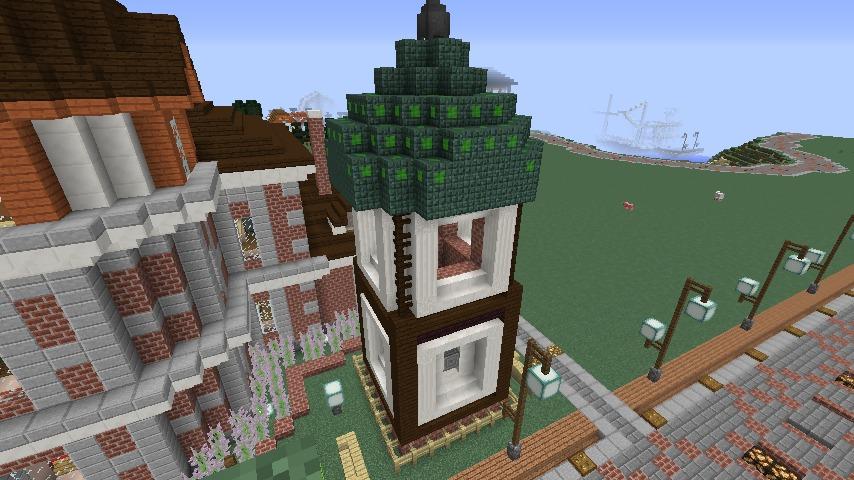 Minecrafterししゃもがマインクラフトでぷっこ村に入船山時計塔をモデルに小さな時計塔を建築する2