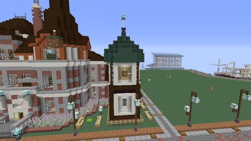 Minecrafterししゃもがマインクラフトでぷっこ村に入船山時計塔をモデルに小さな時計塔を建築する3