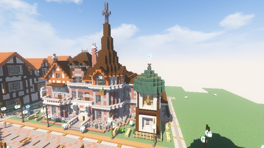 Minecrafterししゃもがマインクラフトでぷっこ村に入船山時計塔をモデルに小さな時計塔を建築する6