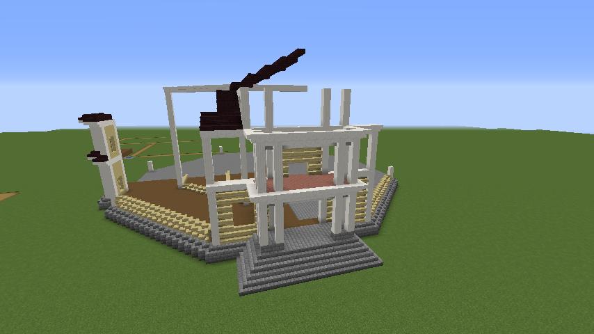 Minecrafterししゃもがマインクラフトでぷっこ村にみくに龍翔館をモデルにした村役場を建築する2